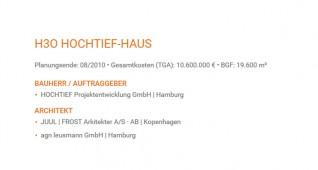 Eckdaten zum Projekt H3O Hochtief-Haus